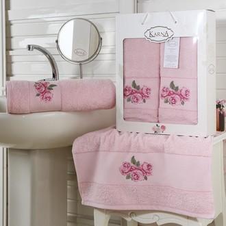 Набор полотенец 50*90, 70*140 Karna HAVIN махра хлопок (розовый)
