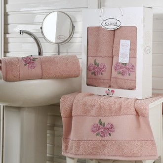 Набор полотенец 50*90, 70*140 Karna HAVIN махра хлопок (грязно-розовый)