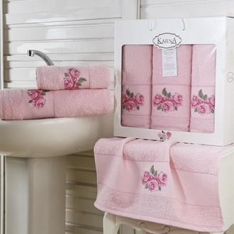 Набор полотенец для ванной 50*90(2), 70*140 Karna HAVIN махра хлопок (розовый)