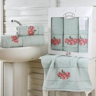 Набор полотенец для ванной 50*90(2), 70*140 Karna HAVIN махра хлопок (зелёный)