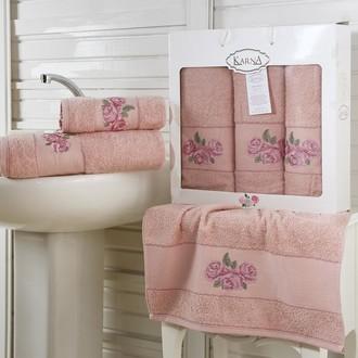 Набор полотенец для ванной 50*90(2), 70*140 Karna HAVIN махра хлопок (грязно-розовый)