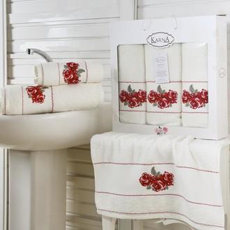 Набор полотенец для ванной 50*90(2), 70*140 Karna HAVIN махра хлопок (кремовый)
