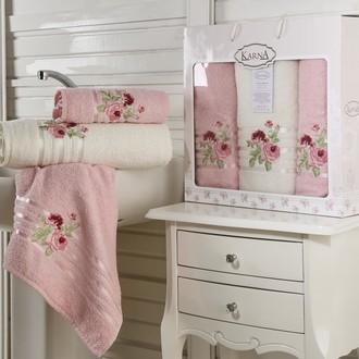 Набор полотенец для ванной 50*90(2), 70*140 Karna ROSEN махра хлопок (светло-розовый)