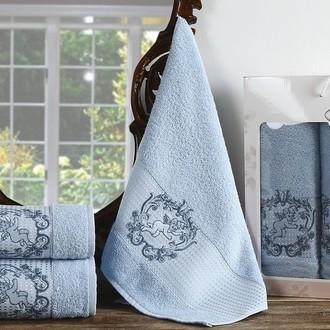 Набор полотенец для ванной 50*90(2), 70*140 Karna CLARIS махра хлопок (светло-голубой)