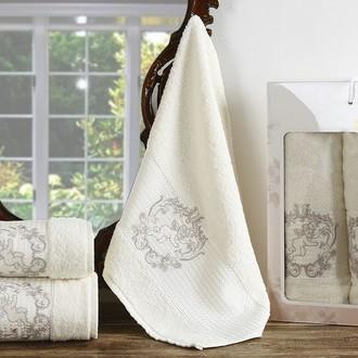 Набор полотенец для ванной 50*90(2), 70*140 Karna CLARIS махра хлопок (кремовый)