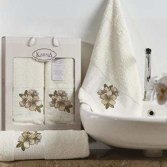 Набор полотенец для ванной 50*90, 70*140 Karna ORKIDE махра хлопок (кремовый)