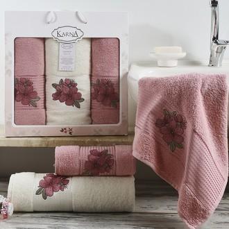 Набор полотенец для ванной 50*90(2), 70*140 Karna ORKIDE махра хлопок (розовый)