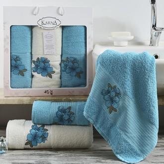 Набор полотенец для ванной 50*90(2), 70*140 Karna ORKIDE махра хлопок (бирюзовый)
