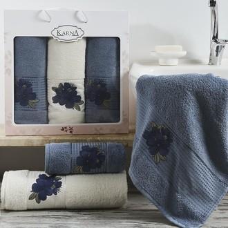 Набор полотенец для ванной 50*90(2), 70*140 Karna ORKIDE махра хлопок (синий)