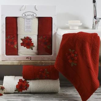 Набор полотенец для ванной 50*90(2), 70*140 Karna ORKIDE махра хлопок (бордовый)