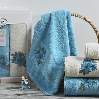 Набор полотенец для ванной 50*90(2), 70*140(2) Karna ORKIDE махра хлопок (бирюзовый)