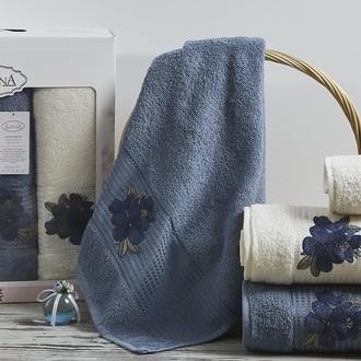Набор полотенец для ванной 50*90(2), 70*140(2) Karna ORKIDE махра хлопок (синий)