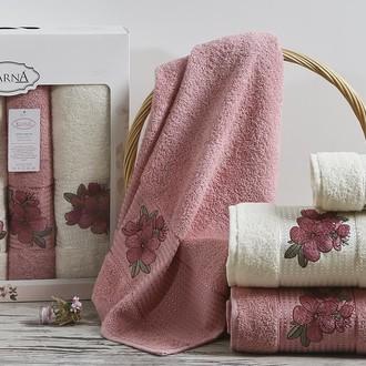 Набор полотенец для ванной 50*90(2), 70*140(2) Karna ORKIDE махра хлопок (розовый)