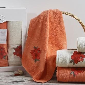 Набор полотенец для ванной 50*90(2), 70*140(2) Karna ORKIDE махра хлопок (коралловый)