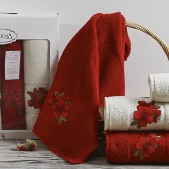 Набор полотенец для ванной 50*90(2), 70*140(2) Karna ORKIDE махра хлопок (бордовый)