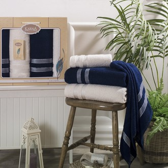 Набор полотенец банных в подарочной упаковке 50*100(2), 100*150(2) Karna PETEK махра хлопок (кремовый+синий)