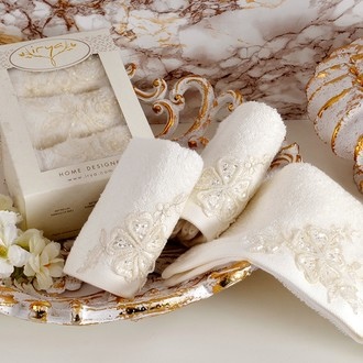 Набор полотенец в подарочной упаковке 30*50 3 шт. Irya LOVELY махра хлопок молочный