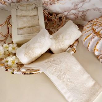 Набор полотенец в подарочной упаковке 30*50(3) Irya SWEET махра хлопок (молочный)