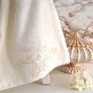 Полотенце банное в подарочной упаковке Irya SHOW махра хлопок молочный 85х150