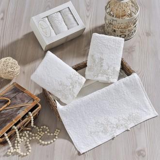 Набор полотенец в подарочной упаковке 30*50(3) Irya SENSITIVE махра хлопок (молочный)