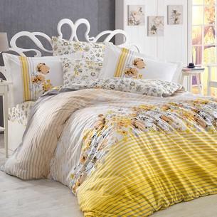 Постельное белье Hobby Home Collection FIESTA хлопковый поплин жёлтый 1,5 спальный