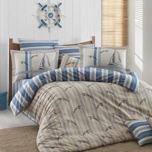 Постельное белье Hobby Home Collection MARINELLA хлопковый поплин голубой евро