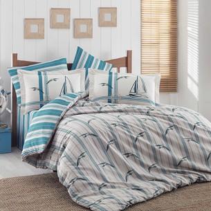 Постельное белье Hobby Home Collection MARINELLA хлопковый поплин бирюзовый 1,5 спальный