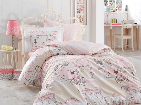 Постельное белье Hobby Home Collection SONIA хлопковый поплин (розовый) 1,5 спальный, фото, фотография