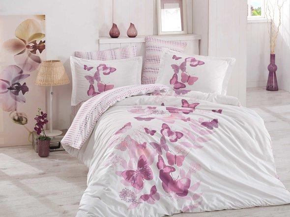 Комплект постельного белья Hobby SUENO поплин хлопок (лиловый) евро, фото, фотография