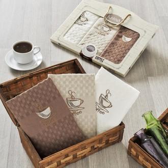 Набор кухонных полотенец в подарочной упаковке 45*65(3) Karna DEVON махра хлопок (V2)