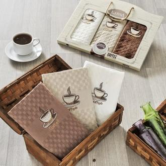 Набор кухонных полотенец в подарочной упаковке 45*65(3) Karna DEVON махра хлопок (V1)