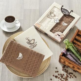 Набор кухонных полотенец в подарочной упаковке 40*60(2) Karna AFFAGATO COFFEE махра хлопок (V1)
