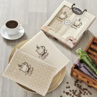 Набор кухонных полотенец в подарочной упаковке 40*60(2) Karna AFFAGATO COFFEE махра хлопок (V3)