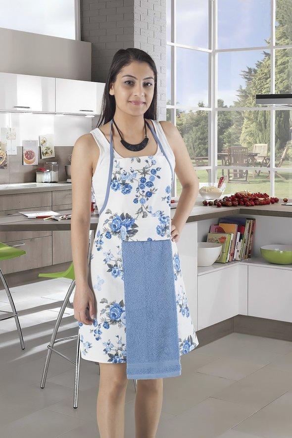 Фартук с полотенцем Karna 2595 (голубой), фото, фотография