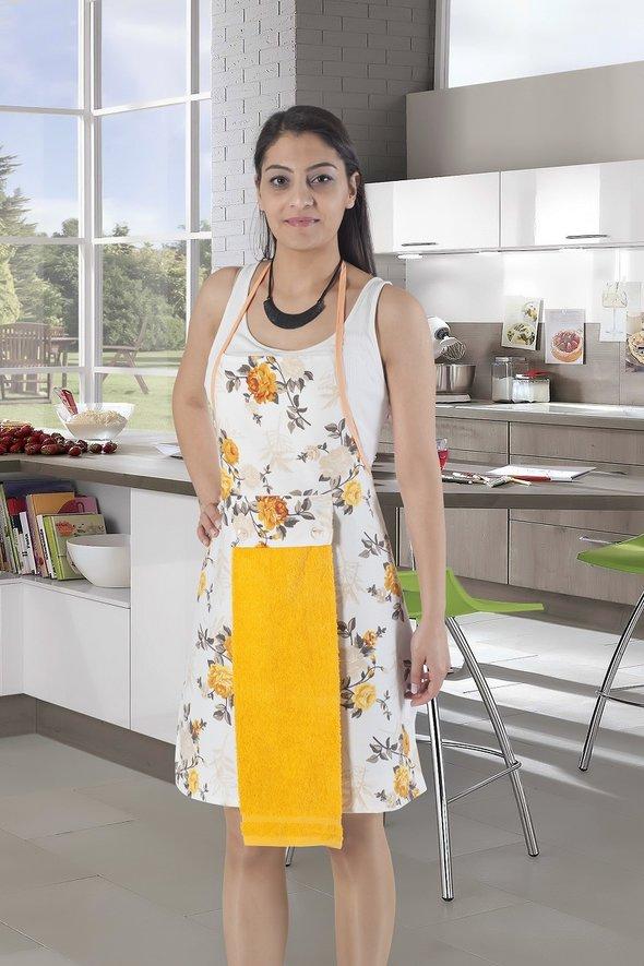 Фартук с полотенцем Karna 2595 (жёлтый), фото, фотография