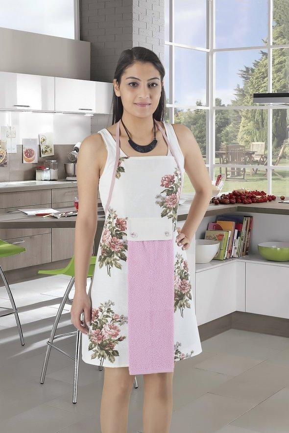 Фартук с полотенцем Karna 2595 (светло-розовый), фото, фотография