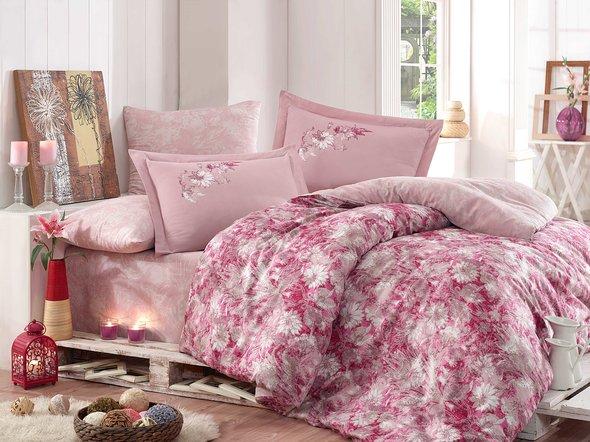 Комплект постельного белья Hobby ROMINA сатин хлопок (розовый) евро, фото, фотография