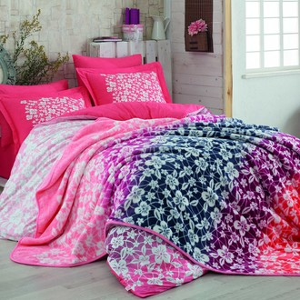 Комплект постельного белья с покрывалом Hobby MIRA поплин хлопок (рубиновый)
