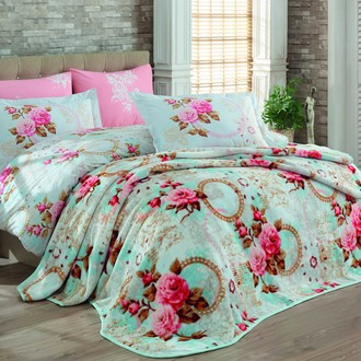 Комплект постельного белья с покрывалом Hobby CLEMENTINA поплин хлопок (розовый)