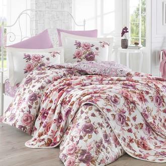 Комплект постельного белья с покрывалом Hobby ALESSIA поплин хлопок (тёмная пудра)