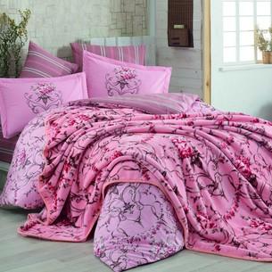 Постельное белье с покрывалом Hobby ORNELLA поплин хлопок розовый евро