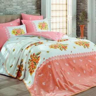 Комплект постельного белья с покрывалом Hobby ALVIS поплин хлопок (персиковый)