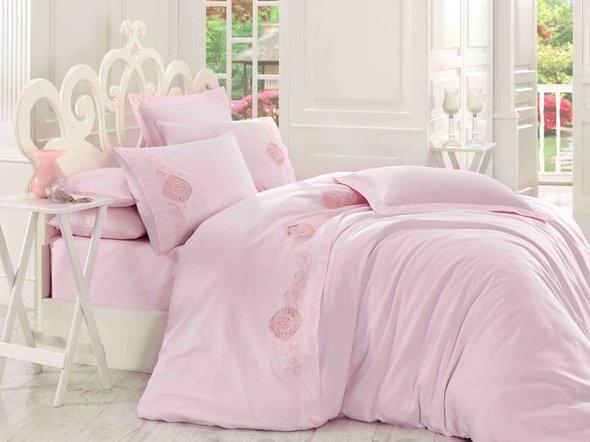 Комплект постельного белья Hobby ANTONIA сатин хлопок (пудра) евро, фото, фотография