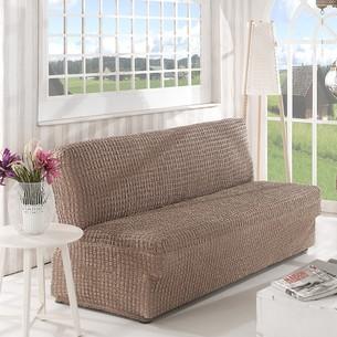Чехол на диван без юбки и подлокотников Karna кофейный трёхместный
