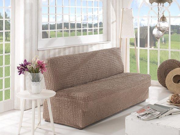 Чехол на диван без юбки и подлокотников Karna (кофейный) трёхместный, фото, фотография