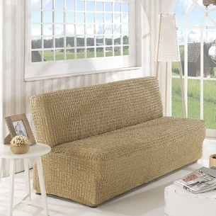 Чехол на диван без юбки и подлокотников Karna бежевый трёхместный