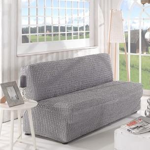 Чехол на диван без юбки и подлокотников Karna серый трёхместный