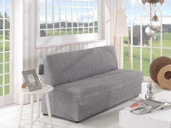 Чехол на диван без юбки и подлокотников Karna (серый) трёхместный, фото, фотография