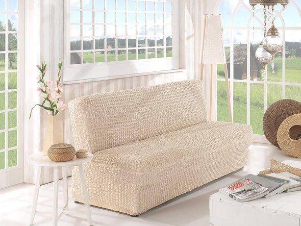 Чехол на диван без юбки и подлокотников Karna (натурал) двухместный, фото, фотография