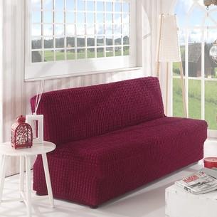 Чехол на диван без юбки и подлокотников Karna бордовый трёхместный
